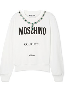 Moschino Embellished Printed Cotton-jersey Sweatshirt