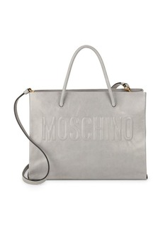 Moschino Embossed Logo Leather Tote