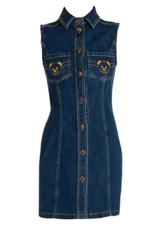 Moschino Embroidered Bear Denim Dress