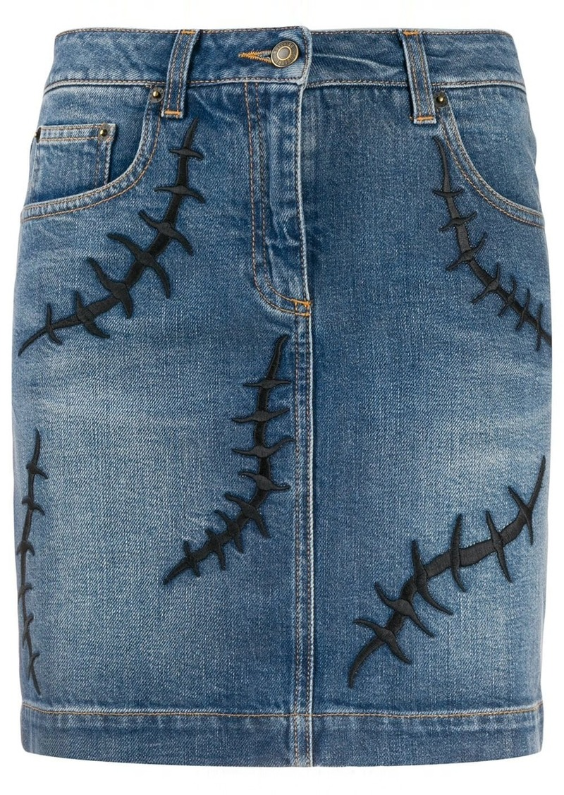Moschino embroidered detail denim skirt