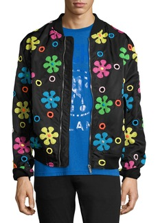 Moschino Embroidered Flower Bomber Jacket