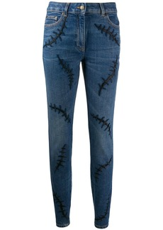 Moschino embroidered mid rise skinny jeans