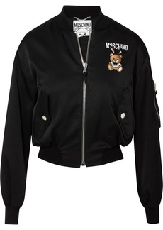 Moschino Embroidered Satin Bomber Jacket