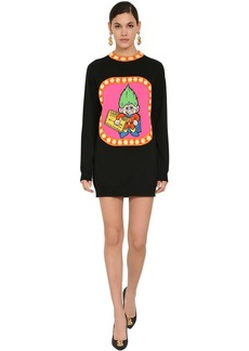 Moschino Embroidered Virgin Wool Knit Mini Dress