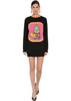 Moschino Embroidered Virgin Wool Knit Mini Dress