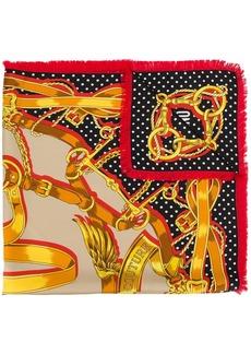 Moschino equestrian print silk scarf