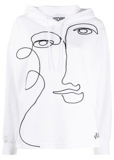 Moschino face embroidery hoodie