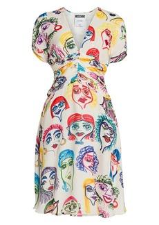 Moschino Face Print Silk A-Line Dress