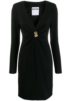 Moschino fitted V-neck ruched detail dress