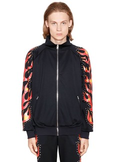 Moschino Flames Printed Studded Track Jacket