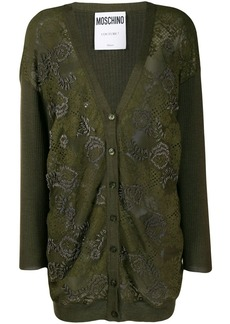 Moschino floral bead embroidered cardigan