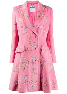 Moschino floral-embroidered flared coat