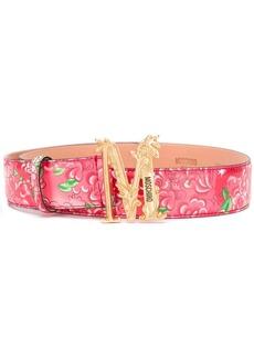 Moschino floral-print logo belt
