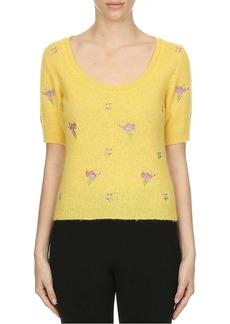 Moschino Flowers Of Versailles Alpaca & Wool-Blend Short-Sleeve Knit Sweater