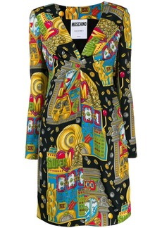 Moschino gathered V-neck printed dress