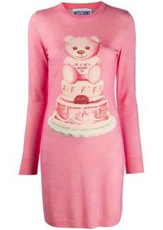 Moschino intarsia bear lurex knitted dress