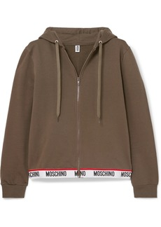 Moschino Intarsia-trimmed Stretch-cotton Fleece Hoodie