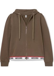 Moschino Intarsia-trimmed Stretch-cotton Fleece Hoodie