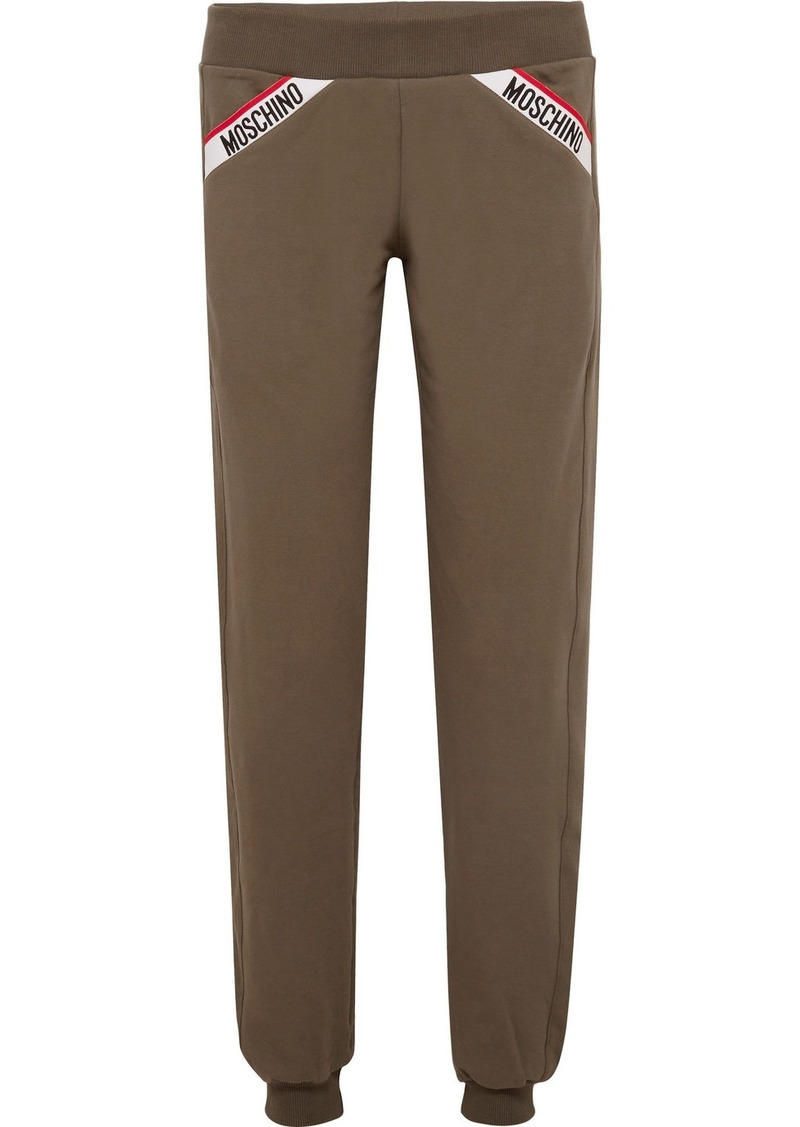 Moschino Intarsia-trimmed Stretch-cotton Fleece Track Pants