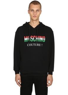 Moschino Italy Logo Hooded Cotton Sweatshirt