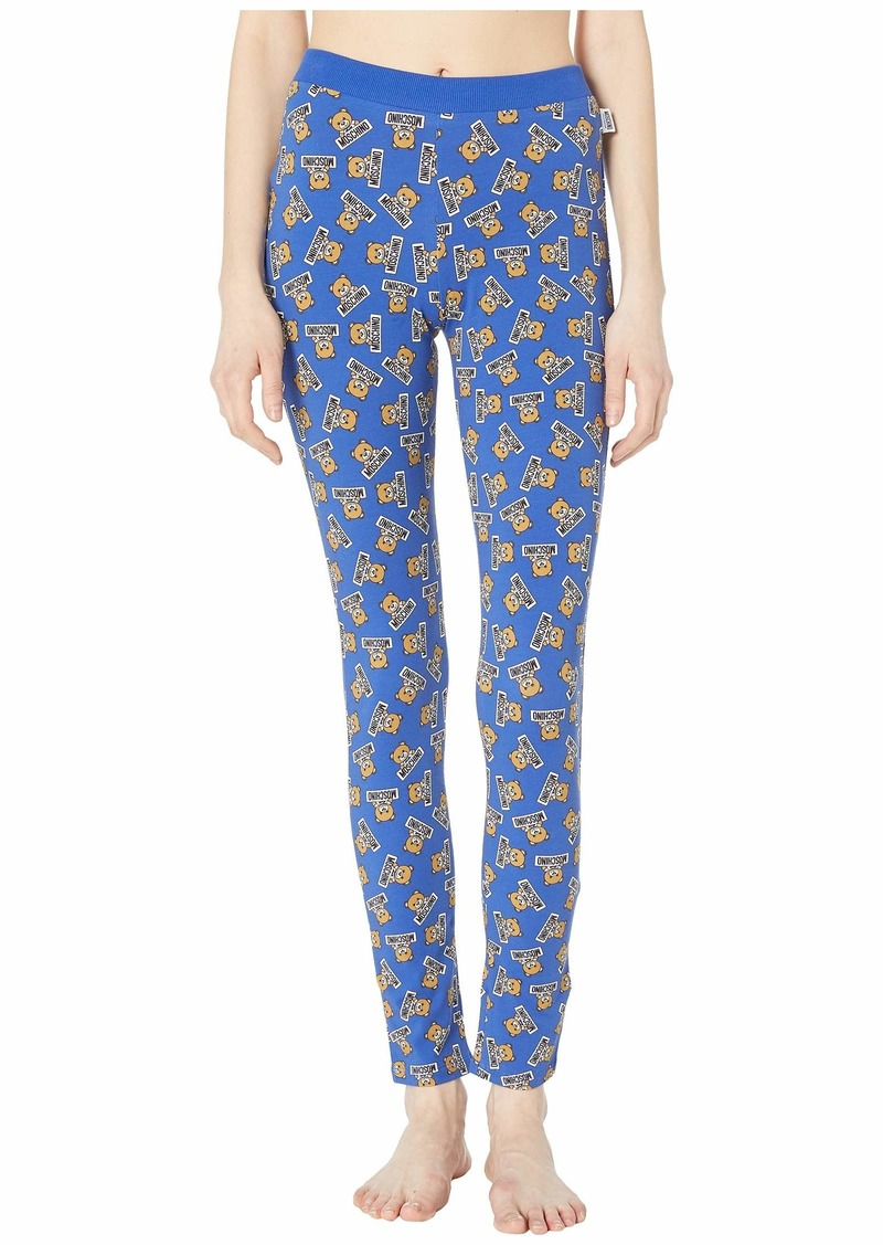 Moschino Jersey Stretch Leggings w/ Teddy Bears All Over