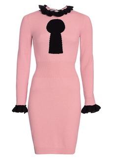 Moschino Keyhole Print Ruffle Sweater Dress