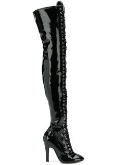 Moschino lace-up thigh high boots