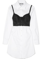 Moschino layered lace trimmed satin and cotton blend poplin dress abv9a598bff a