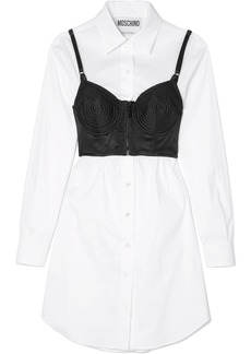 Moschino Layered Lace-trimmed Satin And Cotton-blend Poplin Dress