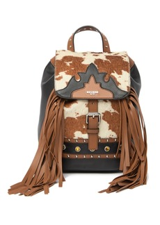 Moschino Leather & Hair Western Studded Backpack