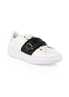 Moschino Leather Buckle Strap Sneakers