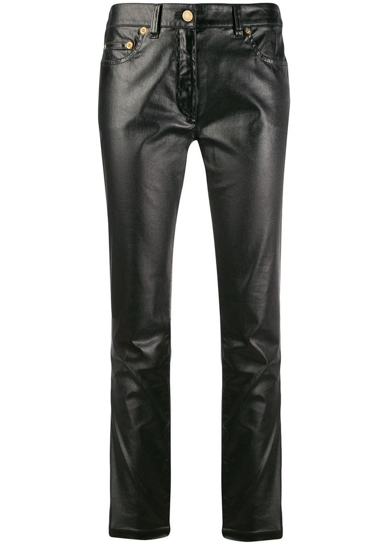 Moschino leather-effect slim-fit trousers