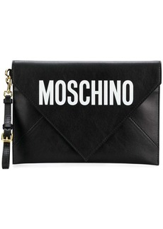 Moschino leather envelope clutch