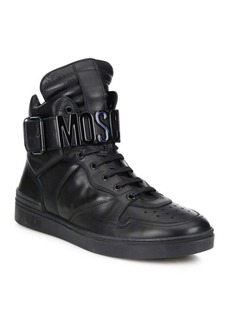 Moschino Leather High-Top Logo Sneakers