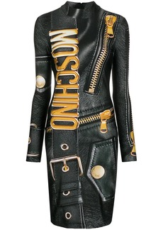 Moschino leather-print dress
