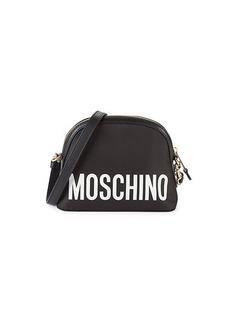 Moschino Leather-Trim Logo Dome Crossbody Bag