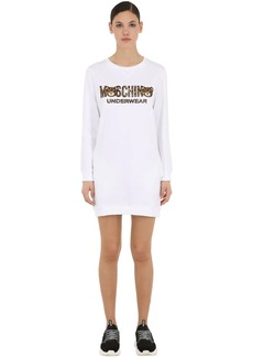 Moschino Leopard Bear Cotton Sweater Dress