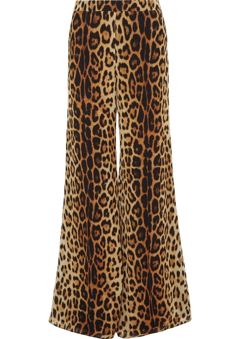Moschino Leopard-print Silk-crepe Wide-leg Pants
