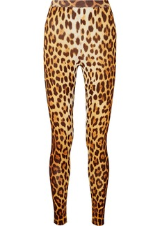 Moschino Leopard-print Stretch-knit Leggings