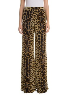 Moschino Leopard Silk Georgette Pants