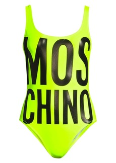 Moschino Lettered Neon Onepiece Swimsuit