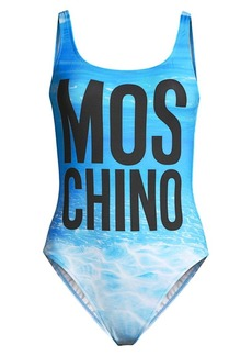 Moschino Lettered Water-Print One-Piece Swimsuit