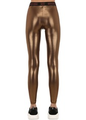 Moschino Logo Band Lamè Leggings
