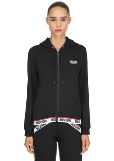 Moschino Logo Band Zip-up Sweatshirt Hoodie