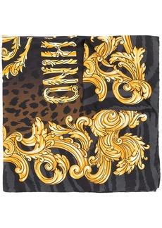 Moschino logo baroque print scarf