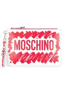 Moschino logo brushstroke clutch bag