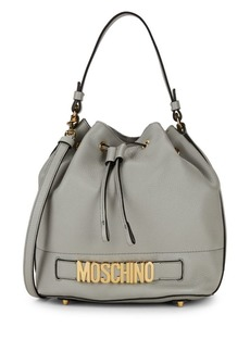 Moschino Logo Cinched Leather Crossbody Bag