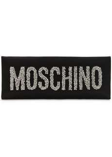Moschino Logo Crystal Satin Clutch