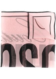 Moschino logo detail silk scarf