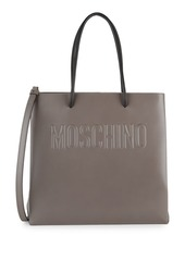 Moschino Logo Embossed Leather Tote
